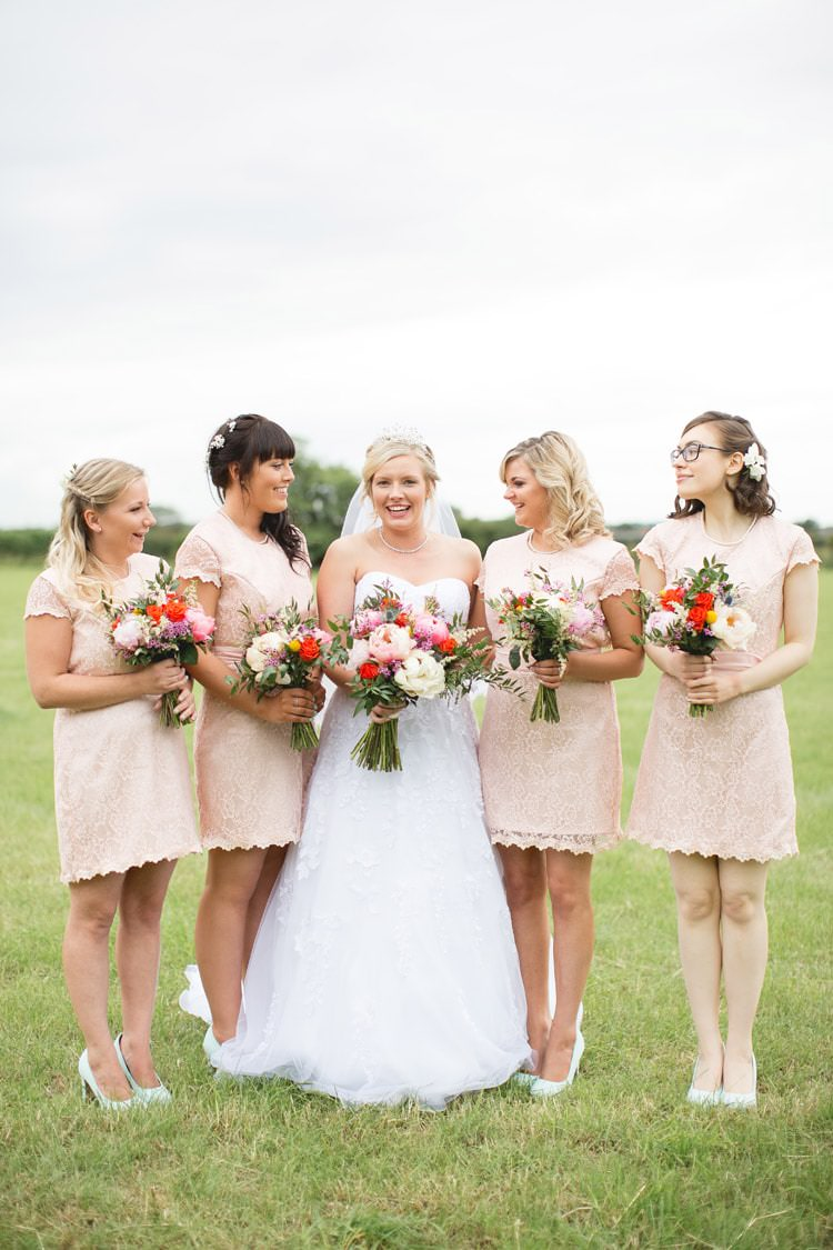 Short Lace Blush Bridesmaid Dresses Family Farm Festival Wedding https://amylouphotography.co.uk/