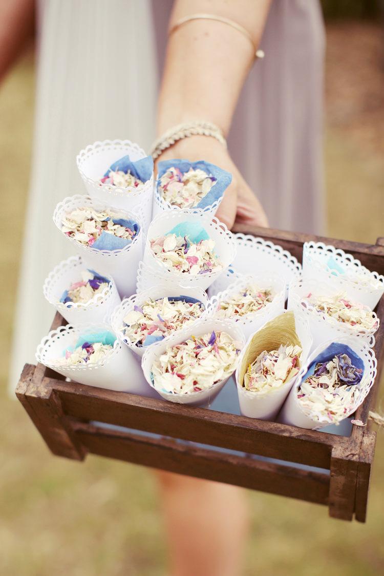 Confetti Cones Mismatched Fairground Woodland Wedding http://www.rebeccaweddingphotography.co.uk/