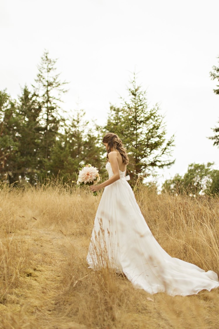 Bride Sweetheart Strapless Bridal Gown Sash Loose Curls Hairstyle Peach Pink Dahlia Bouquet Elegant Classic Outdoor Wedding Washington http://www.courtneybowlden.com/