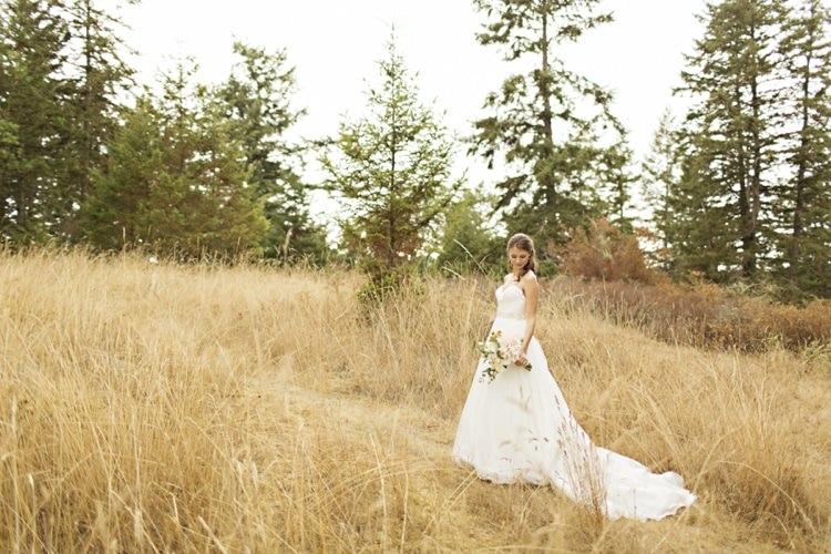 Bride Sweetheart Strapless Bridal Gown Peach Pink Dahlia Bouquet Elegant Classic Outdoor Wedding Washington http://www.courtneybowlden.com/