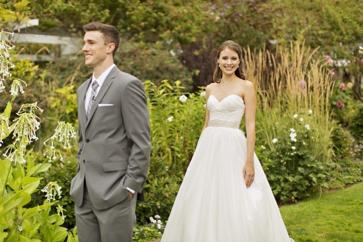 Bride Groom First Look Outdoors Strapless Sweetheart Bridal Gown Embellished Sash Grey Suit Grey Stripe Tie Elegant Classic Outdoor Wedding Washington http://www.courtneybowlden.com/