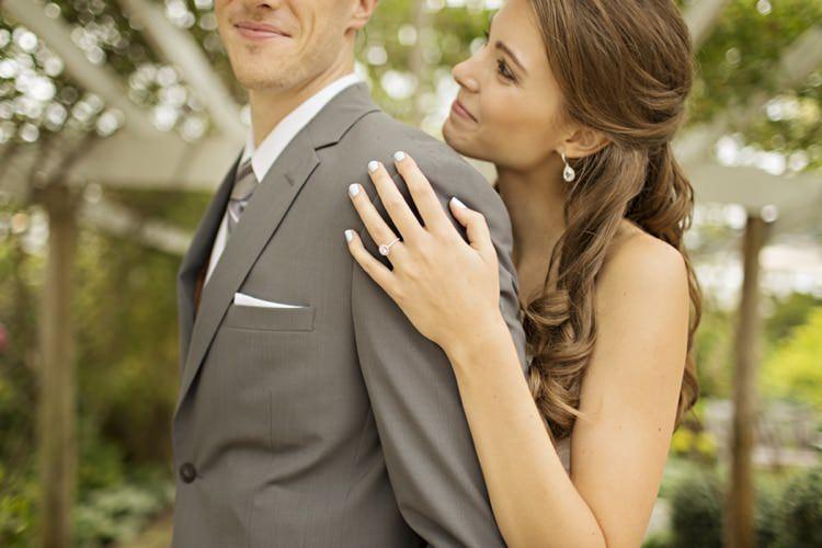 Bride Groom Grey Suit Grey Stripe Tie Round Engagement Ring Loose Curls Bridal Hairstyle Elegant Classic Outdoor Wedding Washington http://www.courtneybowlden.com/