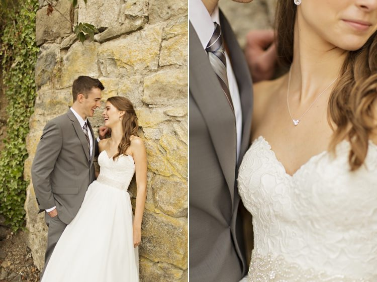 Bride Groom Strapless Sweetheart Bridal Gown Embellished Sash Jewellery Accessories Loose Curls Hairstyle Grey Suit Grey Stripe Tie Outdoors Elegant Classic Outdoor Wedding Washington http://www.courtneybowlden.com/