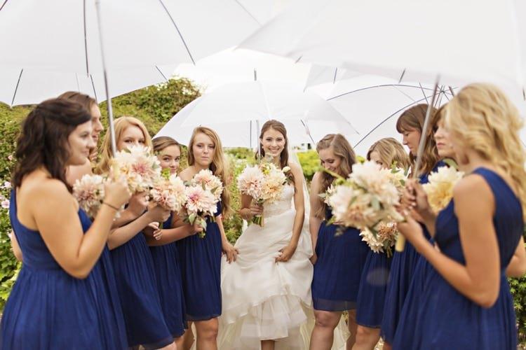 Bride Navy Bridesmaids Bouquet Flowers Peach Pink Dahlia Umbrellas Elegant Classic Outdoor Wedding Washington http://www.courtneybowlden.com/