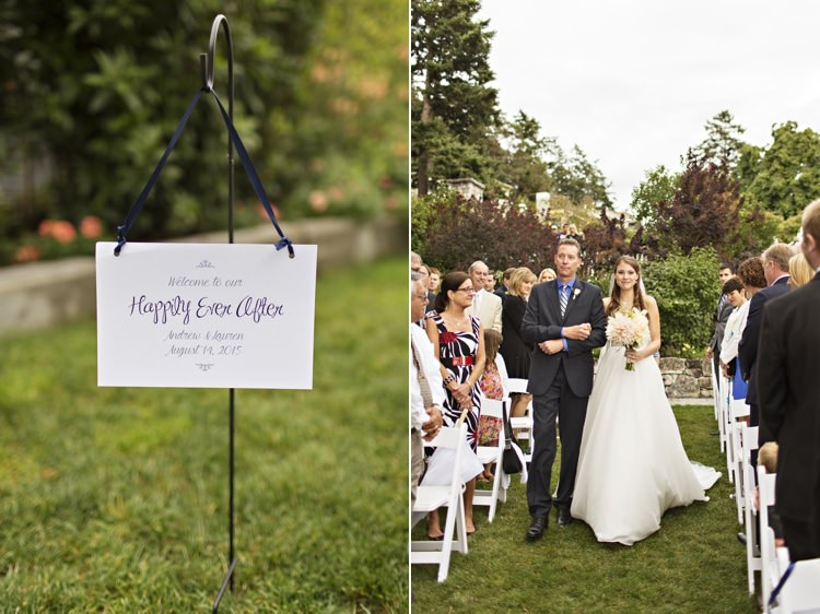 Outdoor Ceremony Bride Father Entrance Welcome Sign Happily Ever After Elegant Classic Outdoor Wedding Washington http://www.courtneybowlden.com/