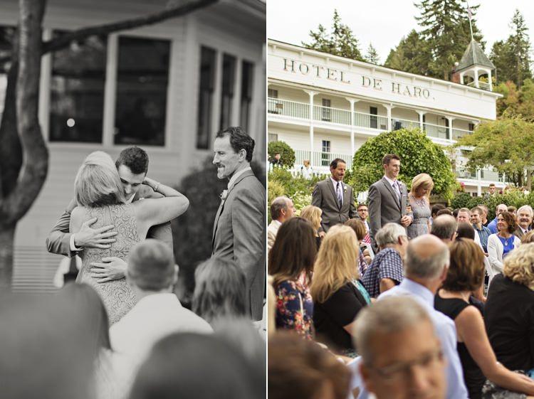 Outdoor Ceremony Groom Parents Guests Roche Harbor Resort Elegant Classic Outdoor Wedding Washington http://www.courtneybowlden.com/
