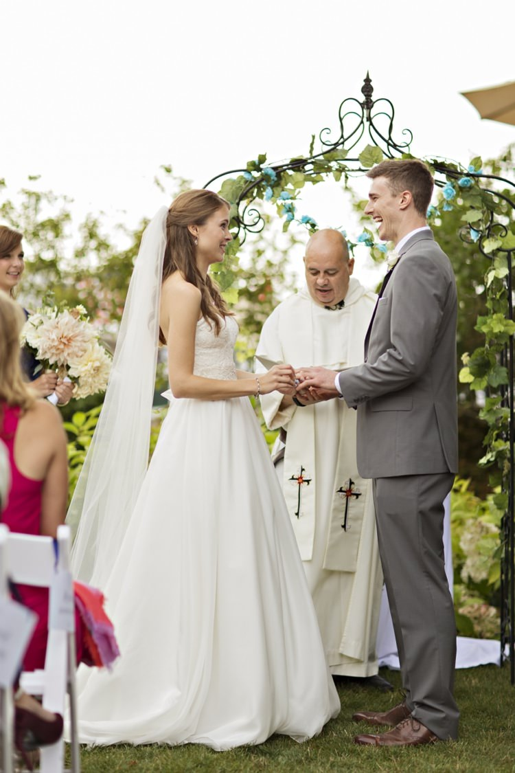 Outdoor Ceremony Arch Greenery Bride Groom Strapless Sweetheart Bridal Gown Veil Grey Suit Elegant Classic Outdoor Wedding Washington http://www.courtneybowlden.com/