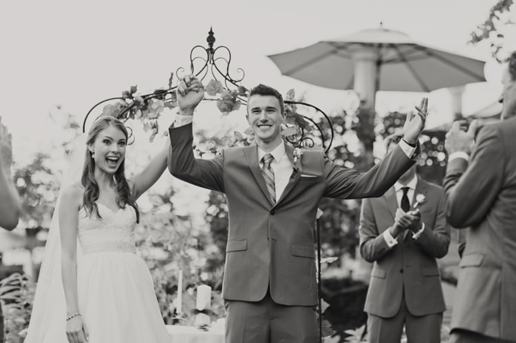 Outdoor Ceremony Just Married Bride Groom Arch Strapless Sweetheart Bridal Gown Elegant Classic Outdoor Wedding Washington http://www.courtneybowlden.com/