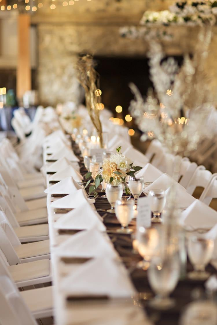Reception Table Settings Peach White Flowers Candles Fairy Lights Elegant Classic Outdoor Wedding Washington http://www.courtneybowlden.com/
