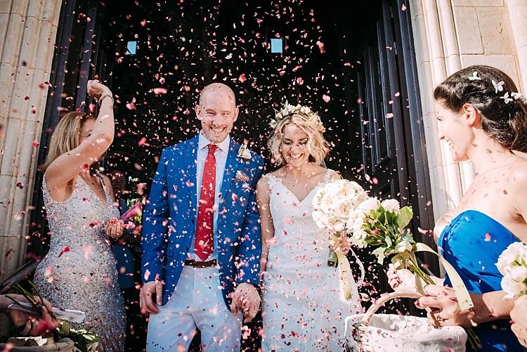 Bride Stella York Lace Gown Groom Royal Blue Coat Red Tie Celebrate Beautiful Traditional Greek Destination Wedding in Cyprus http://www.jonnybarratt.com/