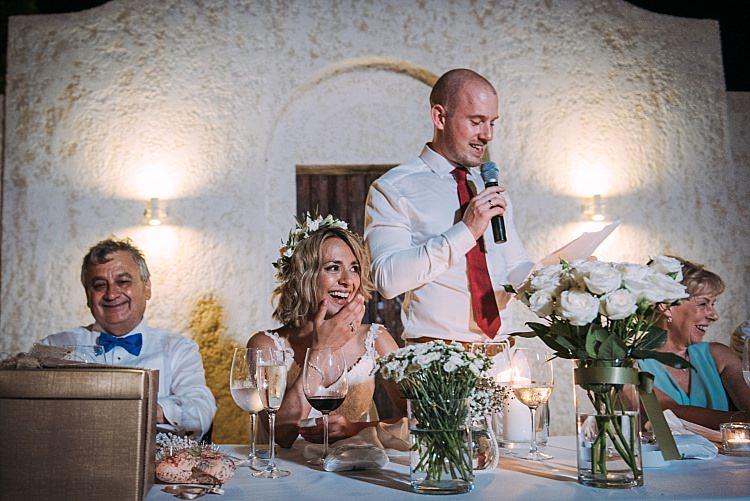 Bride Stella York Lace Gown Flower Crown Groom Speech Reception Beautiful Traditional Greek Destination Wedding in Cyprus http://www.jonnybarratt.com/