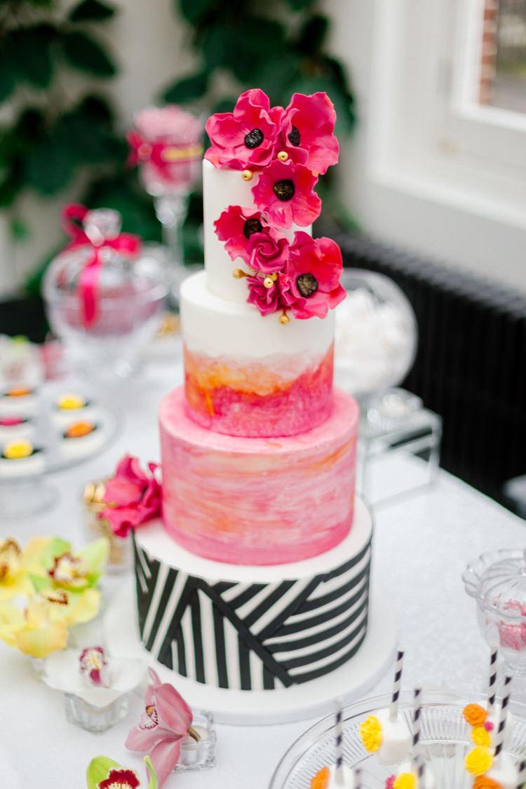 Flower Cake Pink Green Stripes Monochrome Black White Modern Fresh Watercolour Wedding Ideas http://www.beatriciphotography.co.uk/