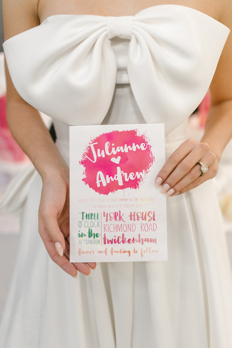 Stationery Invitation Pink Green Bright Colourful Modern Fresh Watercolour Wedding Ideas http://www.beatriciphotography.co.uk/