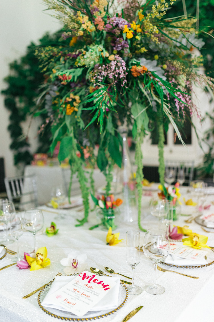 Whimsical Flowers Centrepiece Large Green Foliage Modern Fresh Watercolour Wedding Ideas http://www.beatriciphotography.co.uk/