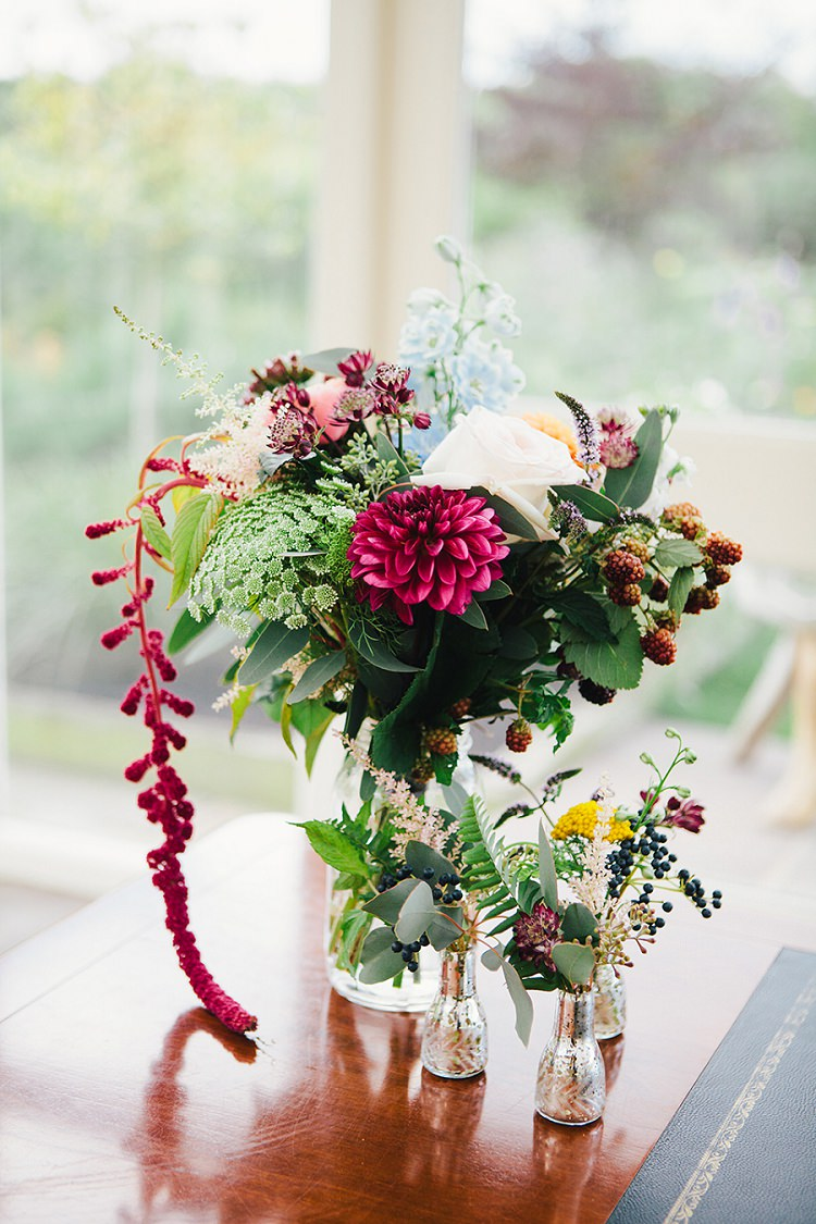 Red Dahlia Berries Flowers Jars Rustic Woodland Floral Wedding http://kellyjphotography.co.uk/