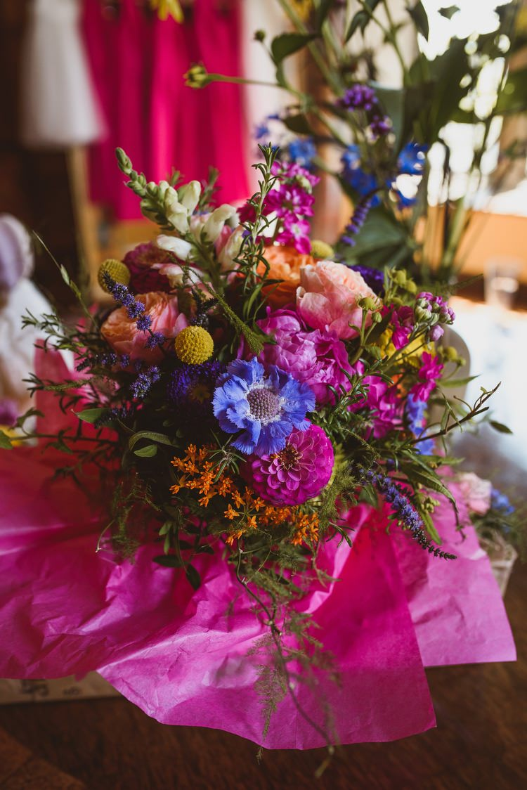 Colourful Multi Blooms Flowers Bouquet Blue Yellow Pink Bride Bridal Lavender Rose Crafty Botanical Natural Wedding http://www.jacksonandcophotography.com/