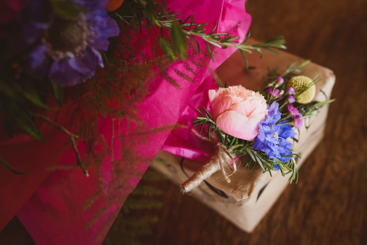 Pink Peony Billy Ball Buttonhole Colourful Multi Blooms Flowers Blue Yellow Pink Crafty Botanical Natural Wedding http://www.jacksonandcophotography.com/