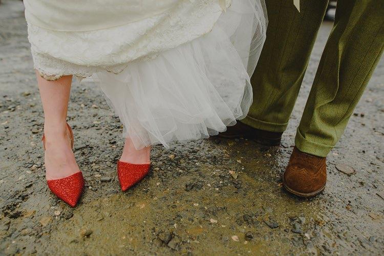 Red Jimmy Choo Heels Bride Bridal Indie Rustic Beach Marquee Wedding http://www.abiriley.co.uk/