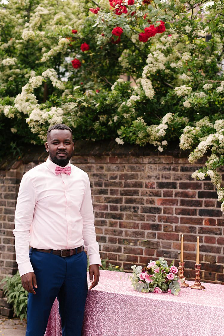 Bow Tie Groom Tropical 1920s Pink Budget Wedding http://lilysawyer.com/