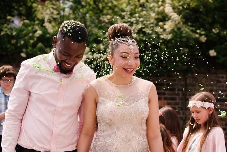 Confetti Throw Tropical 1920s Pink Budget Wedding http://lilysawyer.com/