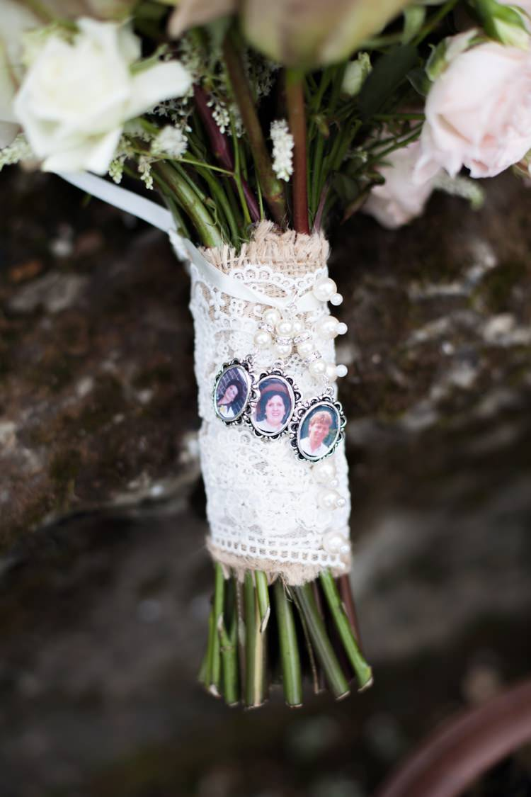 Locket Photo Hessian Lace Bouqet Flowers Bride Bridal Cosy Winter Barn Wedding http://kerryannduffy.com/