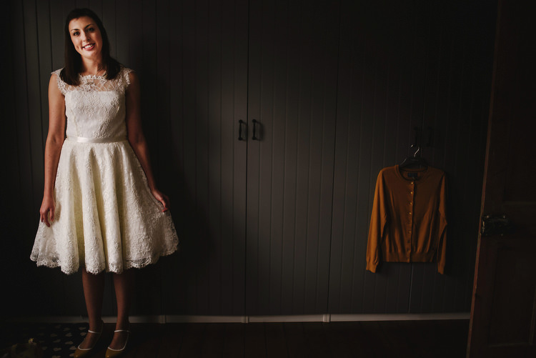 Short Lace Dress Bride Bridal Gown Creative Crafty Village Hall Wedding http://andygaines.com/