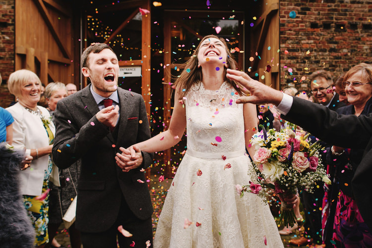 Confetti Throw Creative Crafty Village Hall Wedding http://andygaines.com/