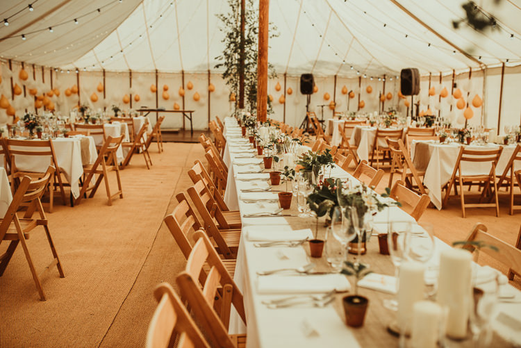 Pole Tent Peach Long Tables Rustic Beautiful Stylish Country Marquee Wedding http://jesssoperphotography.com/