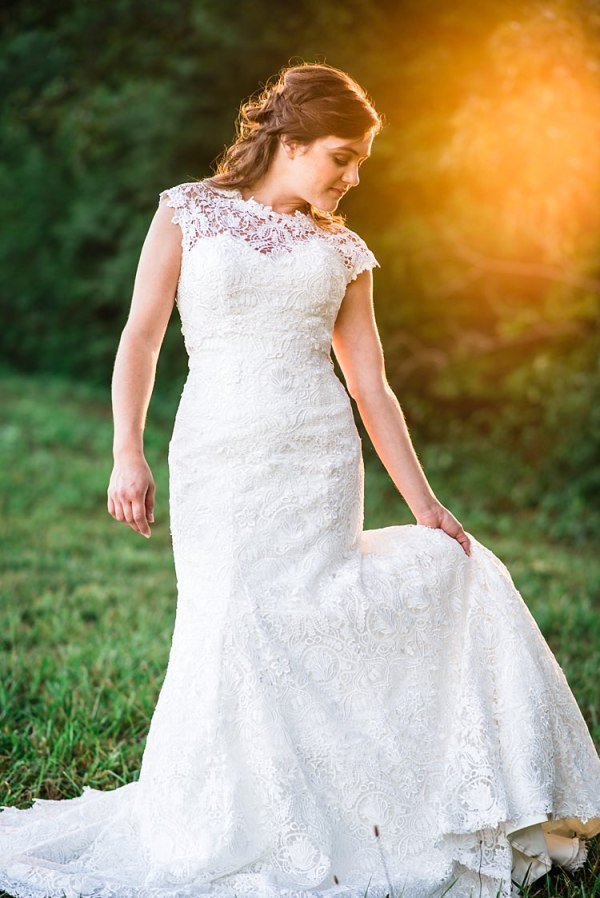 Bride Lace Bridal Gown With Buttons Soft Curls Hairstyle Sunlight Trees Grass Ethereal Boho Wedding Ideas http://perfectcapturephoto.com/