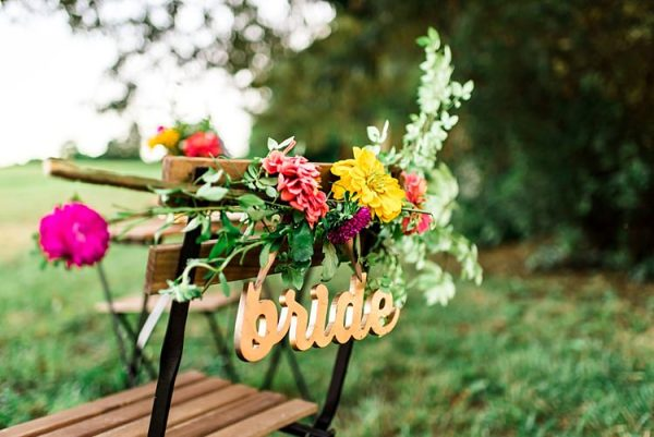 Gold Metallic Bride Sign Wooden Chair Bright Multicoloured Florals Pink Yellow Red Greenery Ethereal Boho Wedding Ideas http://perfectcapturephoto.com/