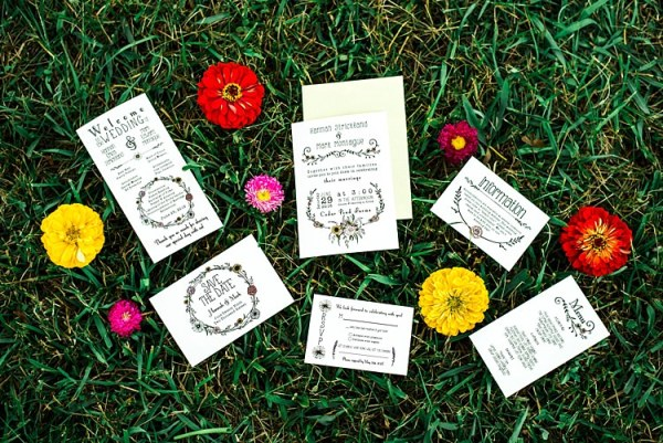 Wedding Stationery Black Cream Floral Wreath Design Red Yellow Pink Flowers Grass Ethereal Boho Wedding Ideas http://perfectcapturephoto.com/