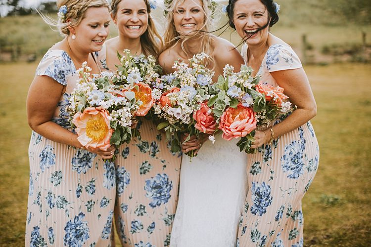 Bridesmaid Bouquets Peony Peonies Pink Blue Beautiful Bohemian Beach Glamping Wedding http://www.thecurries.co/