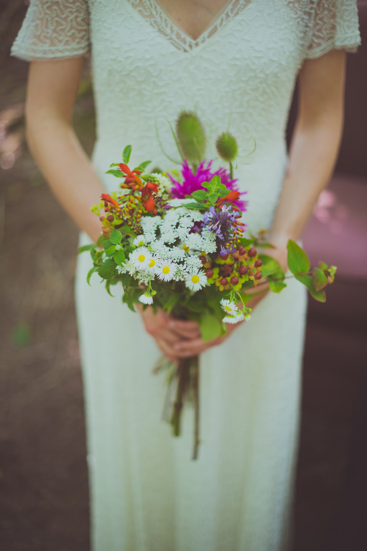 Bouquet Flowers Wild Natural Eco Local Seasonal Bride Bridal Colourful Woodland Humanist Wedding http://sashaweddings.co.uk/