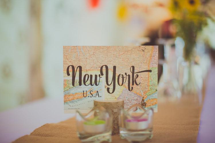 Travel Place Names Tables Colourful Woodland Humanist Wedding http://sashaweddings.co.uk/