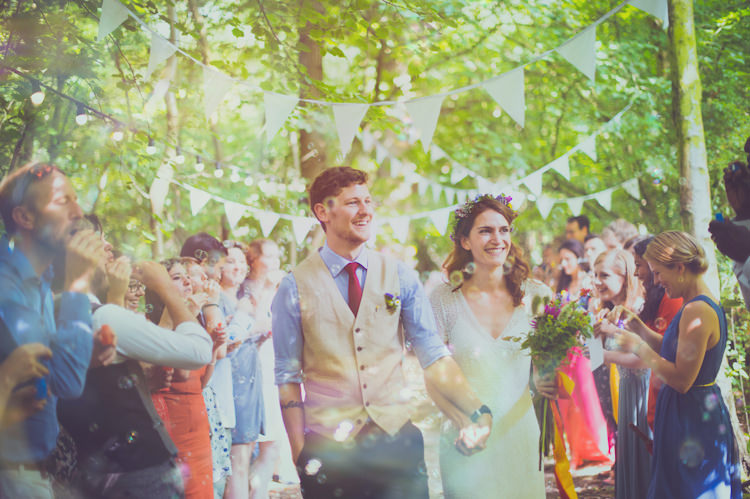 Bubbles Confetti Colourful Woodland Humanist Wedding http://sashaweddings.co.uk/