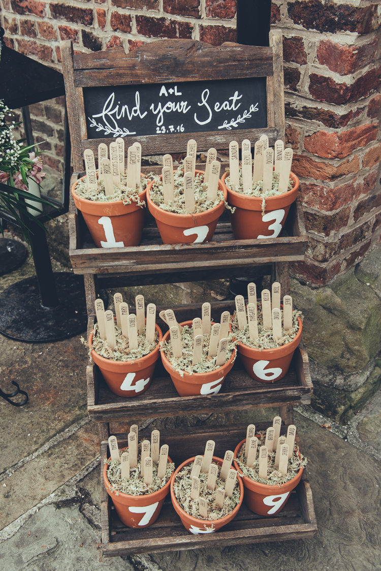 Lolly Stick Pots Seating Table Plan Chart Bespoke Rustic Homespun Wedding http://lisahowardphotography.co.uk/