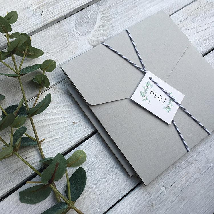 Pretty Wedding Stationery Invitations Lily and Jack's Paper Studio UK Grey Pocketfold Twine