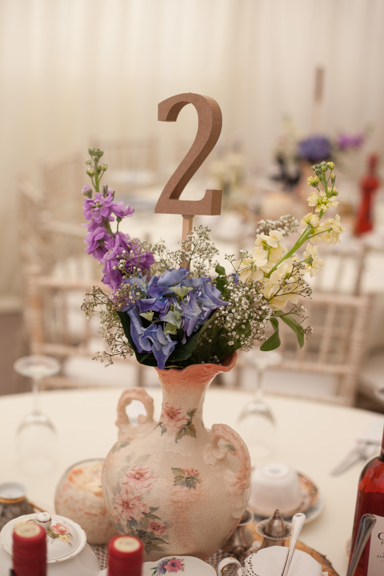 Vintage Jug Flowers Table Number Centrepiece Pastel Marquee Garden Party Wedding https://www.deliciousphotography.co.uk/