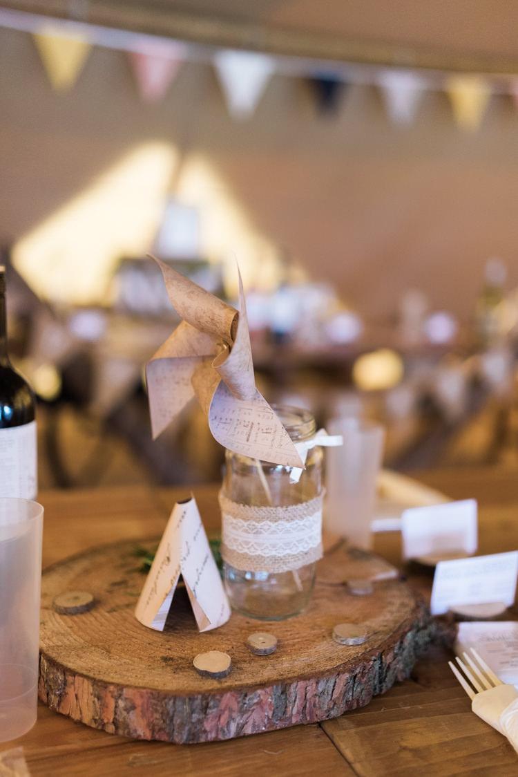 Lace Hessian Jar Pinwheel Log Centrepiece Decor Table Tipi Camping Festival Rave Tipi Wedding http://petalandblushartistry.co.uk/