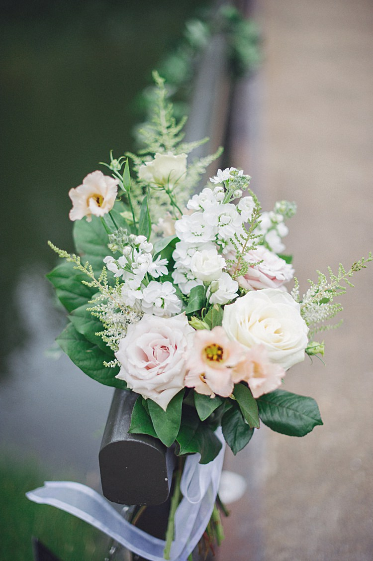 White Pink Flowers Ribbon Pew End Ceremony Decor Natural Peach Garden Wedding http://www.juliaandyou.co.uk/