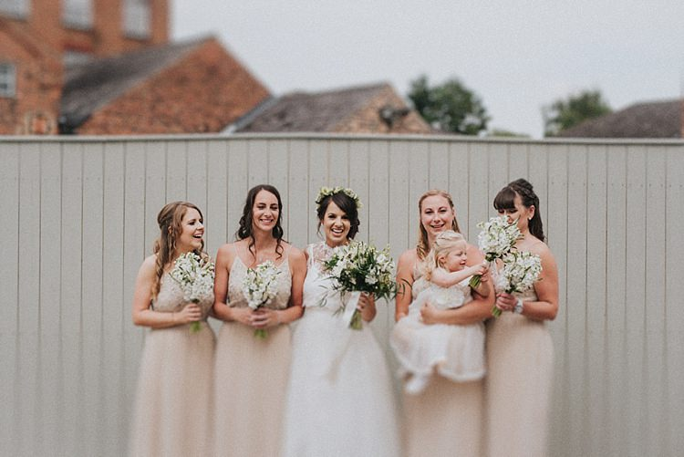 Long Nude Bridesmaid Dresses Flowers Bouquets Industrial Cool Mill Greenery Wedding http://www.beckyryanphotography.co.uk/