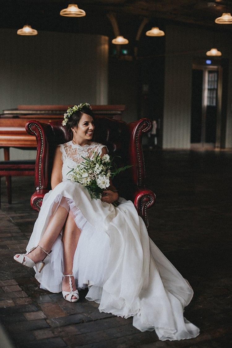 Bridal Separates Top Skirt Dress Industrial Cool Mill Greenery Wedding http://www.beckyryanphotography.co.uk/