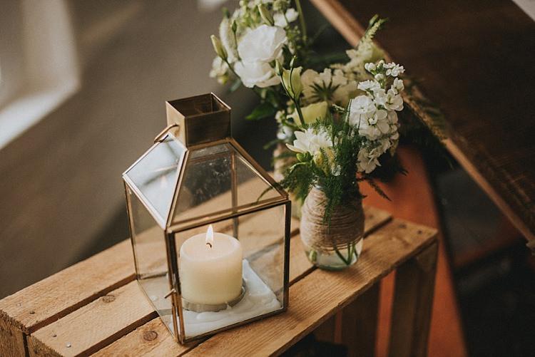 Jar Flowers Candle Lantern Industrial Cool Mill Greenery Wedding http://www.beckyryanphotography.co.uk/