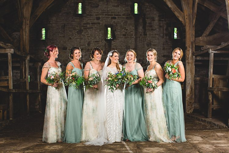 Floral Green Long Bridesmaid Dresses Eclectic Foliage Edison Lights Wedding http://www.tobiahtayo.com/