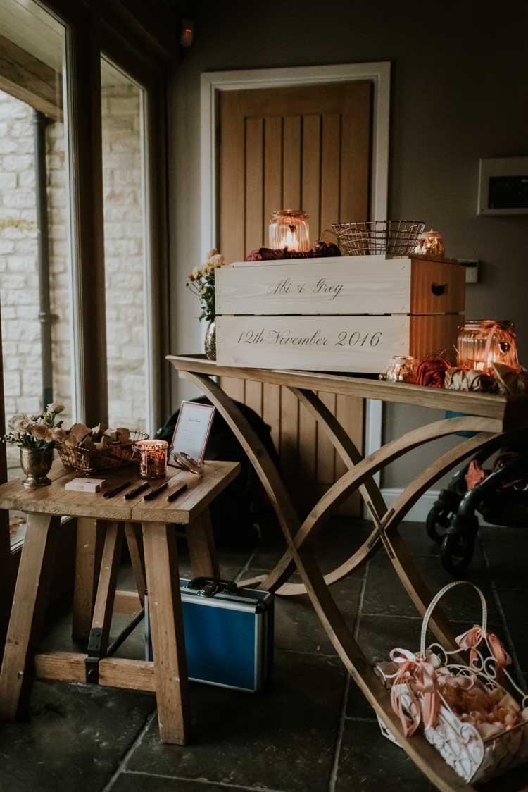 Personalised Card Box Crate Rose Gold Autumn Barn Wedding Weddingphotographyincheltenham