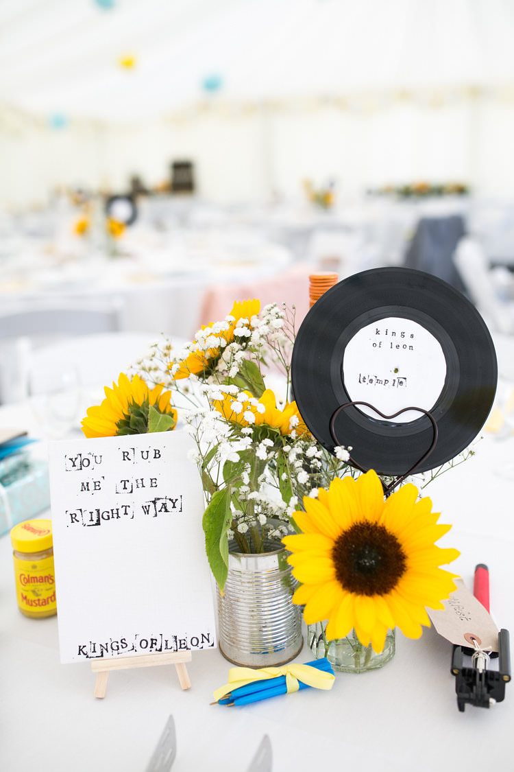 Music Decoration Table Number Name Tin Can Centerepice Summer Sunflowers Marquee Wedding http://maddiewaters.co.uk/
