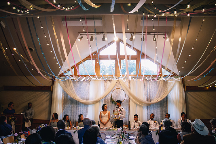 Reception Hanging Décor Multicoloured Ribbons Fairy Lights Wooden Wreath Bride Groom Bridal Party Guests Woodland Waterfall Mint Wedding Ontario http://www.laurenmccormickphotography.com/