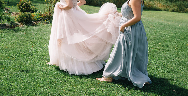 Bride Allure Champagne Lace Tulle Bridal Gown Bridesmaid Mint Grey Gold Dress Gardens Woodland Waterfall Mint Wedding Ontario http://www.laurenmccormickphotography.com/