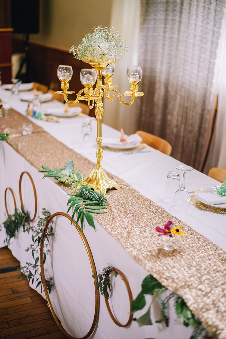 Reception Bridal Party Table Gold Candle Holder Gypsophila Gold Wreaths Greenery Rose Gold Sequin Table Runner Origami Cranes Fresh Florals Woodland Waterfall Mint Wedding Ontario http://www.laurenmccormickphotography.com/
