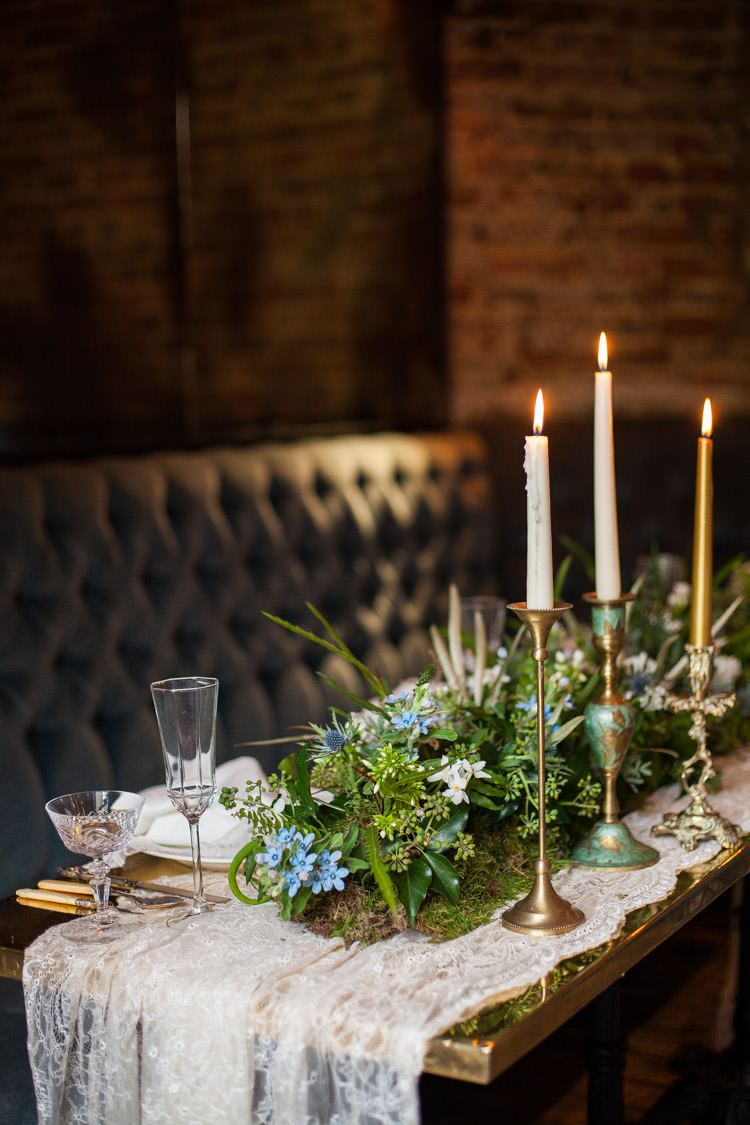 Tablescape Decor Candle Foliage Greenery Runner Lace Cloths Blue Gold Luxe Victorian Wedding Ideas http://www.francescarlisle.co.uk/